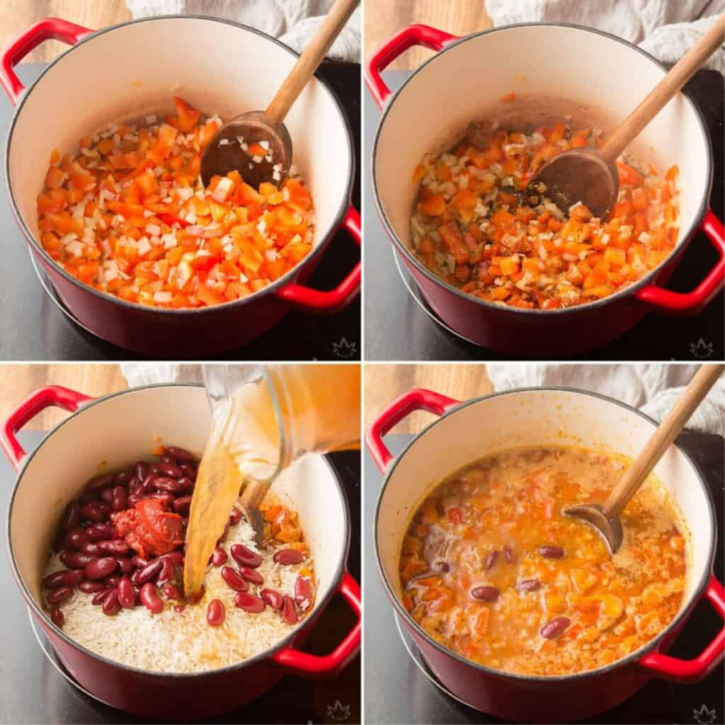 Collage Showing First 4 Steps for Making Spanish Rice & Beans: Sweat Veggies, Add Spices, Add Rice, Beans, Broth and Tomato Paste, and Bring to a Boil
