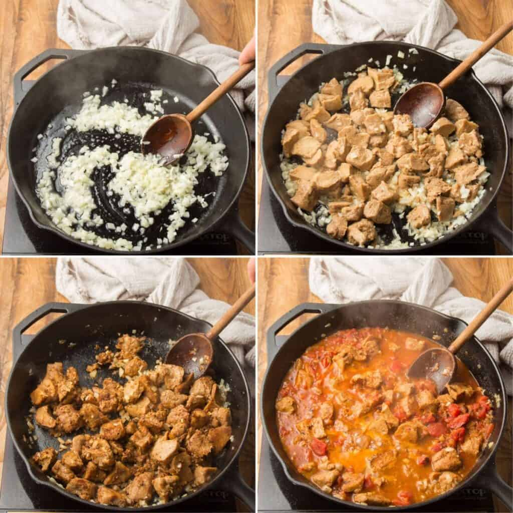 Collage Showing Steps for Making Vegan Butter Chicken: Sweat Onions, Brown Seitan, Add Aromatics, and Add Broth and Tomatoes