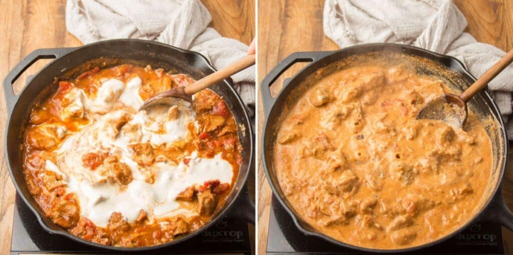 Collage Showing Last Two Steps for Making Vegan Butter Chicken: Add Cashew Cream and Simmer