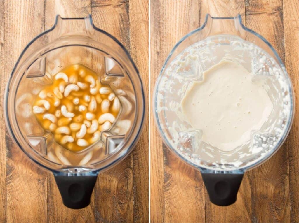 Two Images Showing Cashew Cream Ingredients in a Blender Before and After Blending