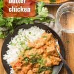 """Plate of Vegan Butter Chicken with Text Overlay Reading """"Vegan Butter Chicken"""""""