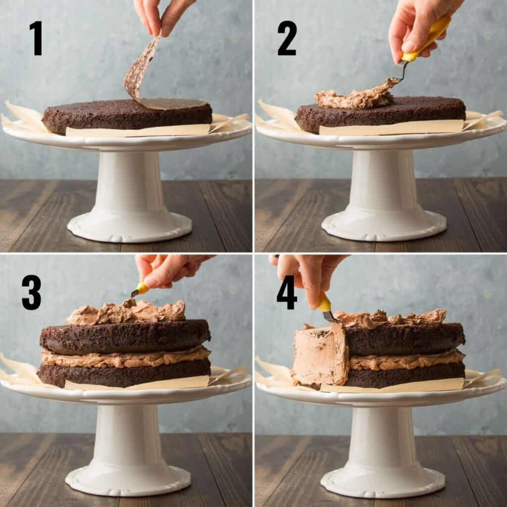 Collage Showing Steps for Frosting a Vegan Chocolate Cake: Invert First Layer on Dish, Top with Frosting, Top with Second Layer and Additional Frosting, and Frost Sides