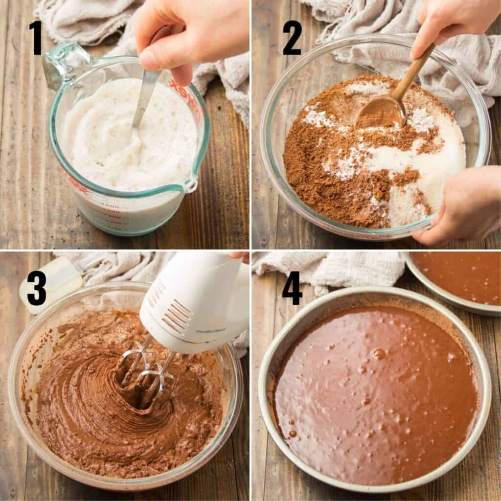 Collage Showing Steps for Making Vegan Chocolate Cake: Mix Liquid Ingredients, Mix Dry Ingredients, Beat with Mixer and Place Batter in Cake Pans