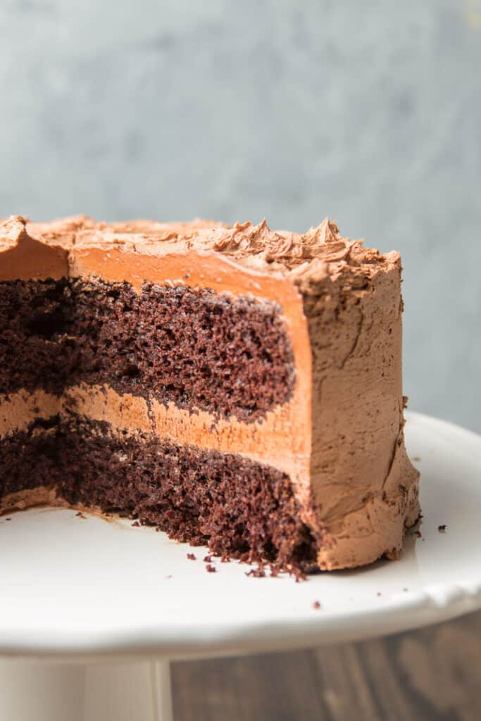 Vegan Chocolate Cake with a Large Wedge Cut Out