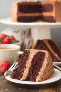 Slice of Vegan Chocolate Cake on its Side on a Plate with Cake Dish in the Background