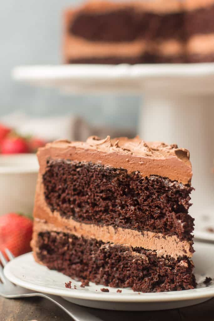 Close Up of a Slice of Vegan Chocolate Cake Standing Upright on a Plate