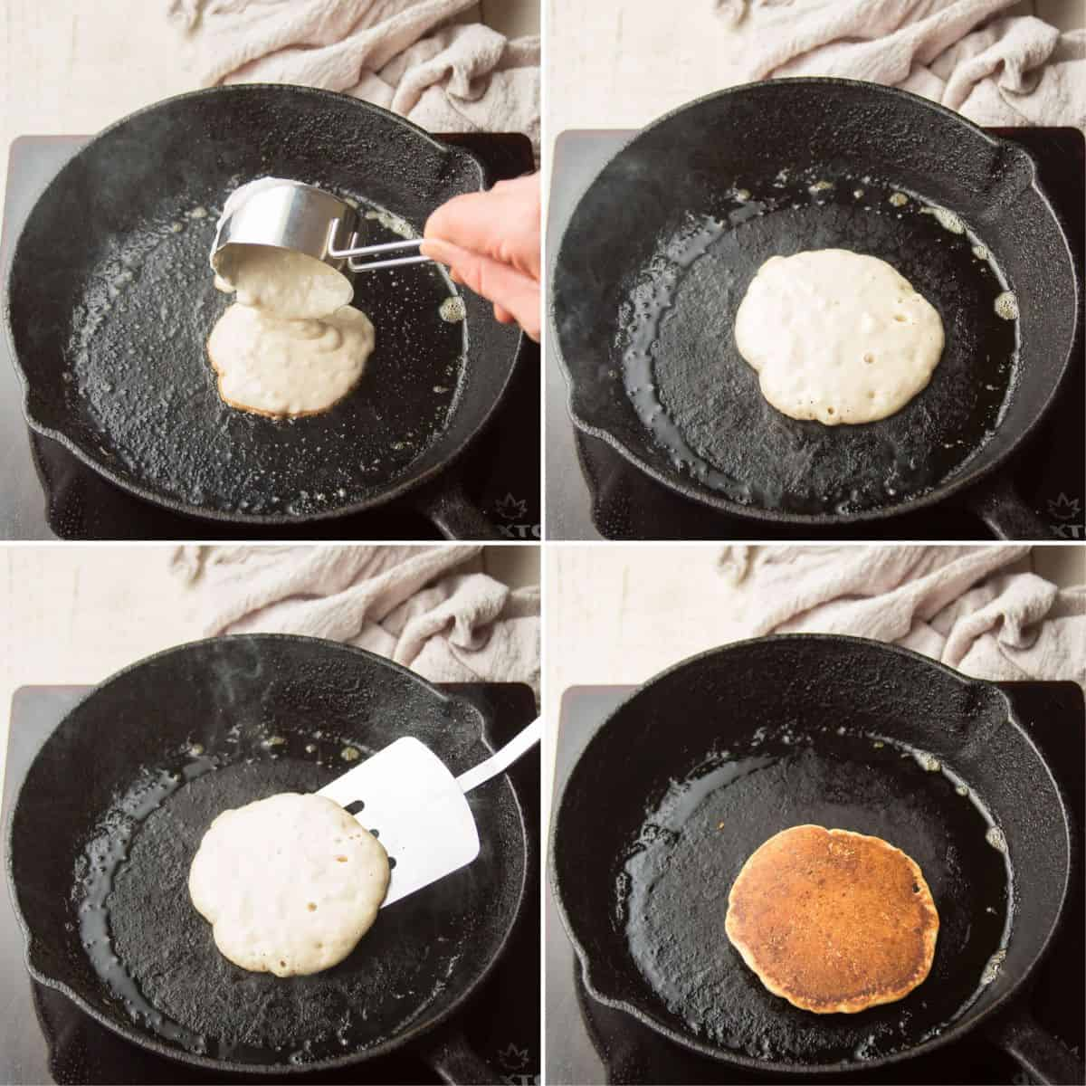 Collage Showing 4 Stages of a Vegan Pancake Cooking in a Skillet