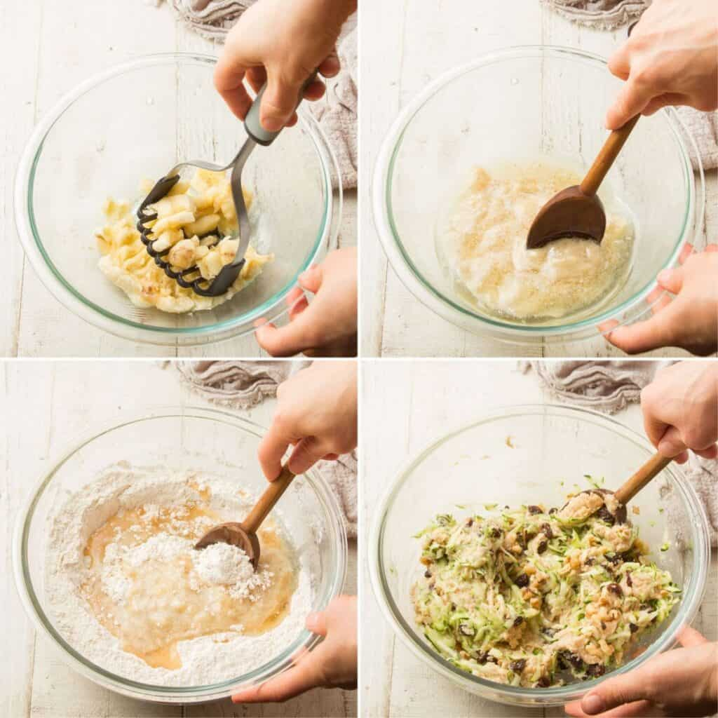Collage Showing 4 Steps for Making Vegan Zucchini Bread: Mash Banana, Add Liquid Ingredients, Add Mixture To Dry Ingredients, and Fold in Zucchini, Raisins and Walnuts