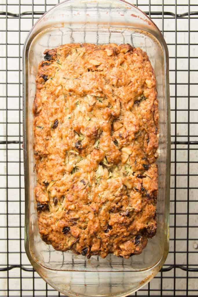 Loaf of Vegan Zucchini Bread on a Cooling Rack