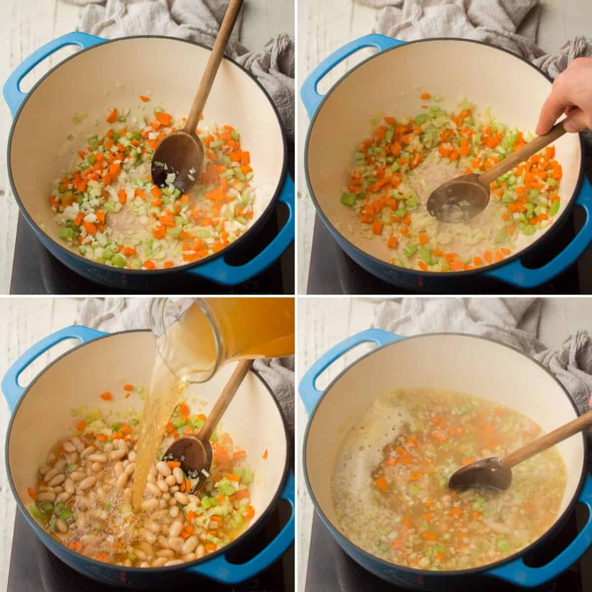 Collage Showing First 4 Steps of Making Zucchini Soup: Sweat Veggies, Add Garlic, Add Broth and Beans, and Simmer