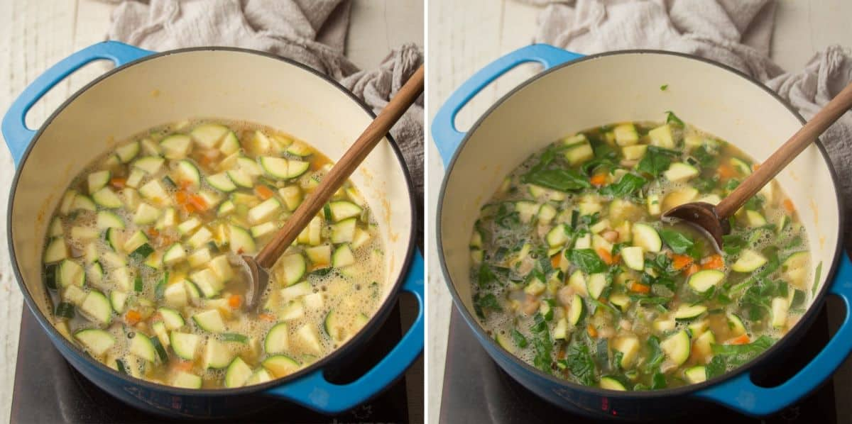 Collage Showing Last Two Steps for Making Zucchini Soup: Add Zucchini and Add Spinach