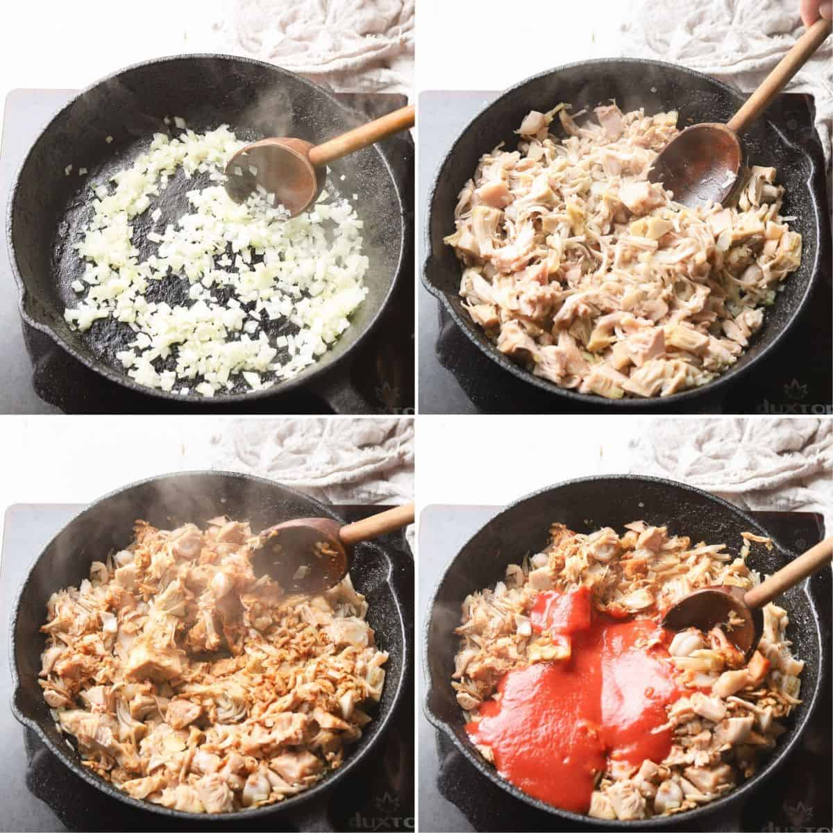 Collage Showing 4 Stages of Cooking Jackfruit Taco Filling