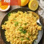"""Plate of Turmeric Rice with Text Overlay Reading """"Turmeric Rice"""""""