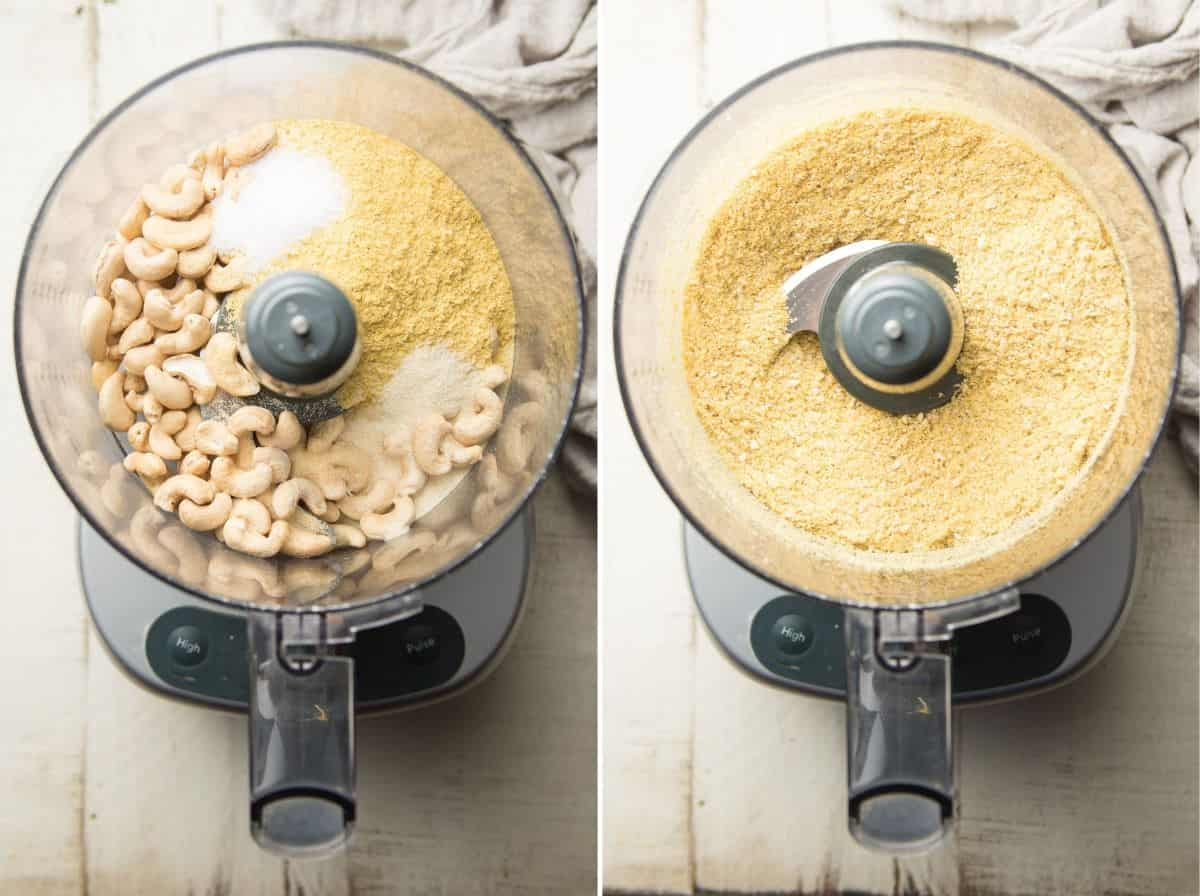 Ingredients for Vegan Parmesan Cheese in a Food Processor Bowl Before and After Blending