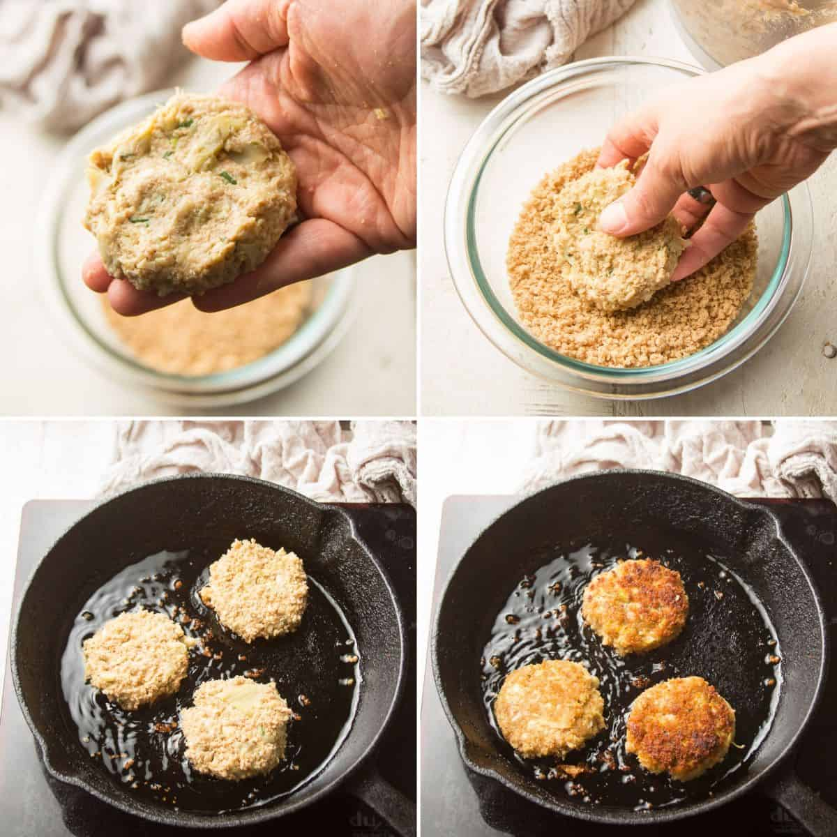 Collage Showing Steps for Cooking Vegan Crab Cakes: Shape Patties, Dip in Panko, And Fry on Both Sides