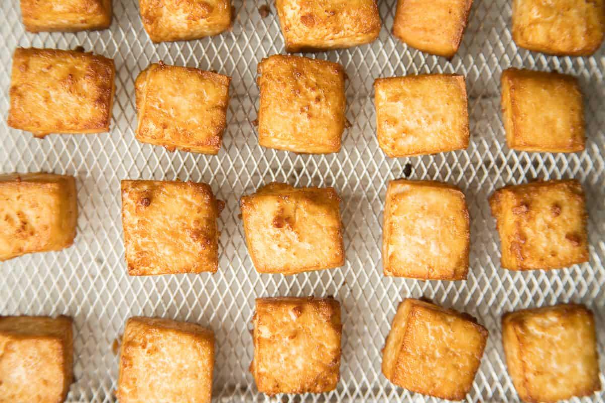 Air Fryer Tofu Arranged in Basket