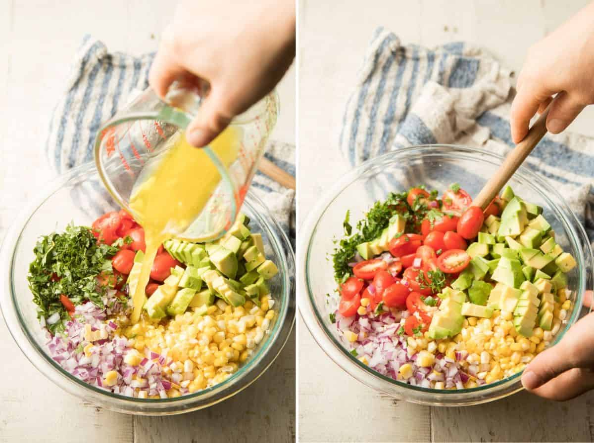 Collage Showing 2 Steps for Making Avocado Corn Salad: Pour Dressing Over Veggies, and Stir