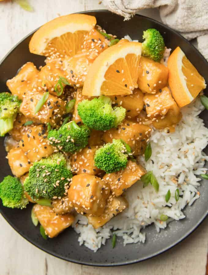 Plate of Crispy Orange Tofu with Broccoli and Rice
