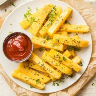 Plate of Herbed Polenta Fries with Ketchup on the Side