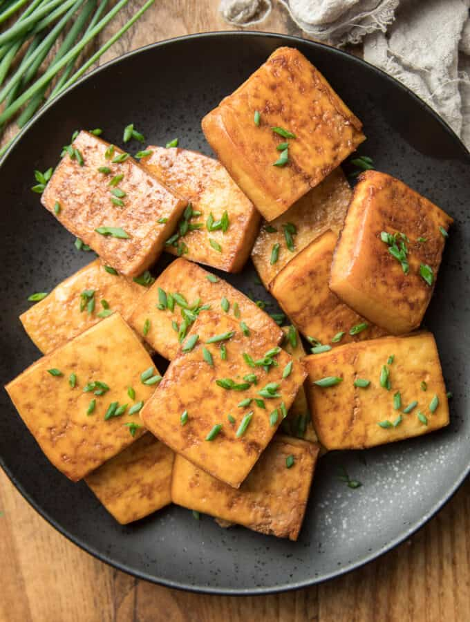 Plate of Smoked Tofu Topped with Chives