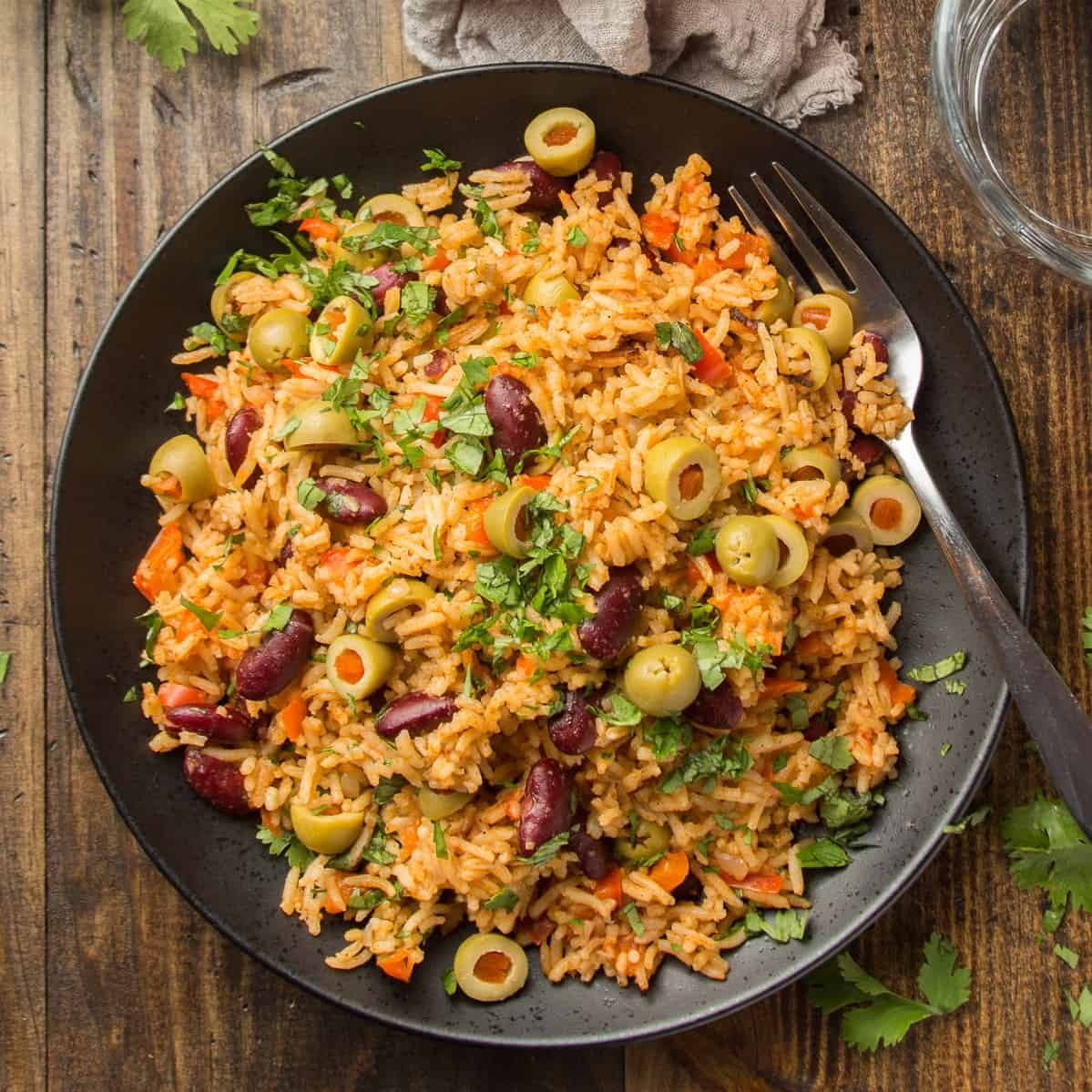Plate of Spanish Rice with Fork
