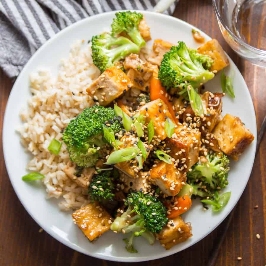 Tofu Stir-Fry on a Plate with Rice