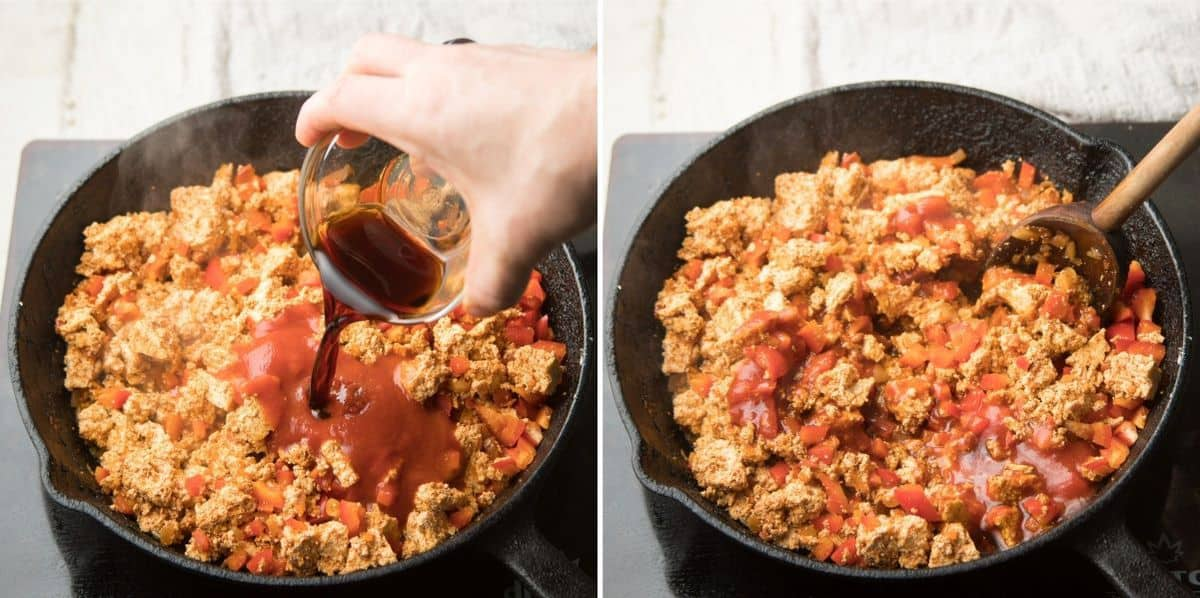 Collage Showing Last Two Steps for Making Tofu Taco Filling: Add Sauces and Simmer