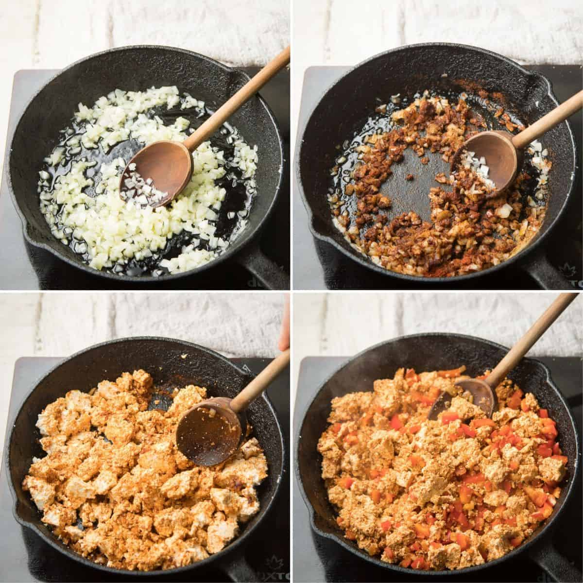 Collage Showing First Four Steps for Making Tofu Taco Filling: Sweat Onions, Add Spices, Add Tofu and Add Bell Pepper