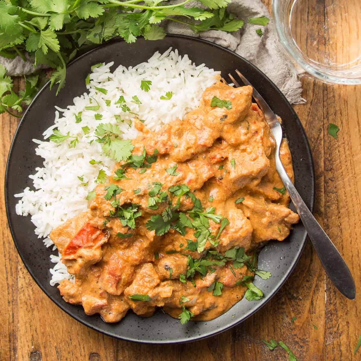 Vegan Butter Chicken on a plate with Rice
