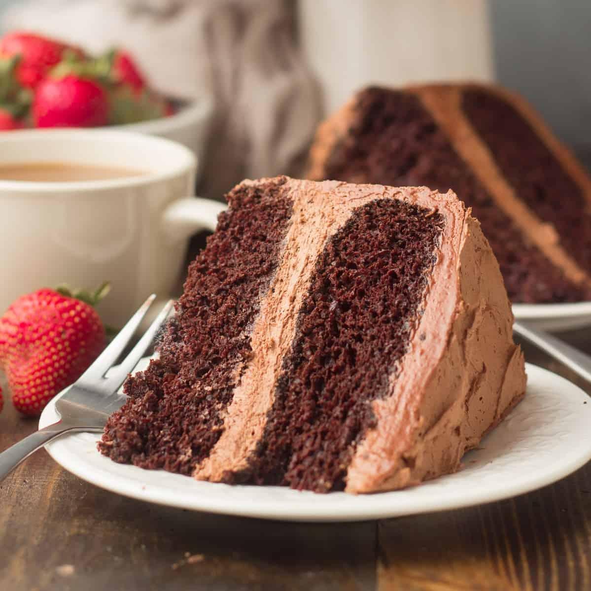 Slice of Vegan Chocolate Cake on a plate
