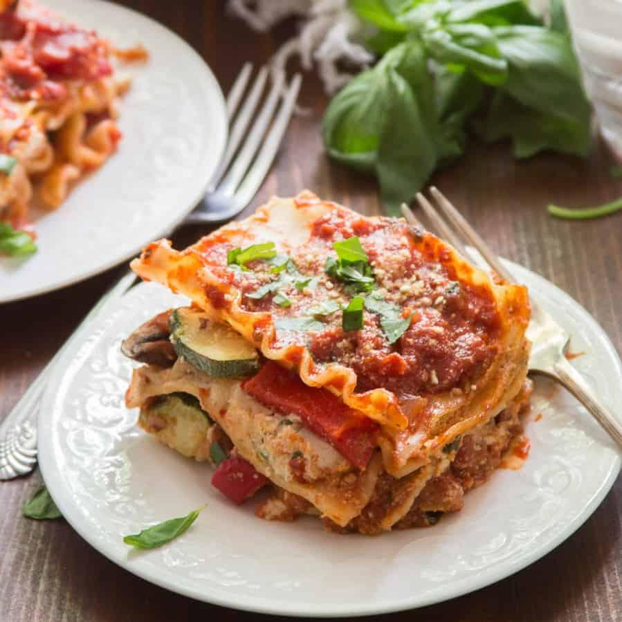 Slice of Vegan Lasagna on a Plate