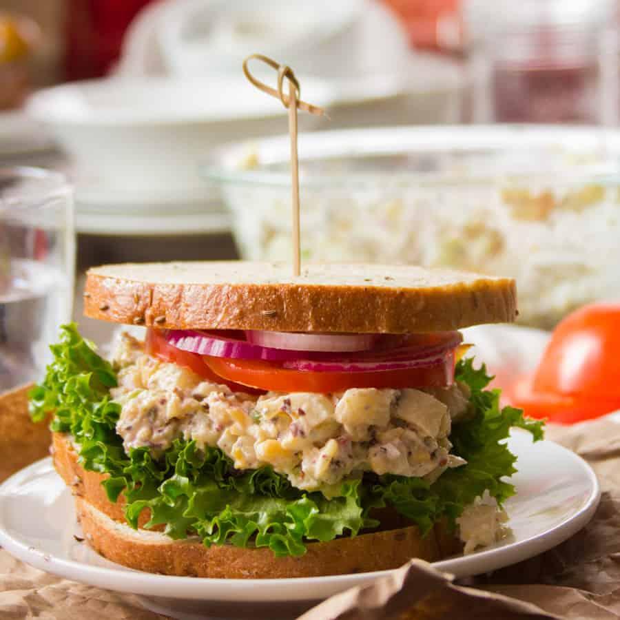 Vegan Tuna Salad Sandwich on a Plate