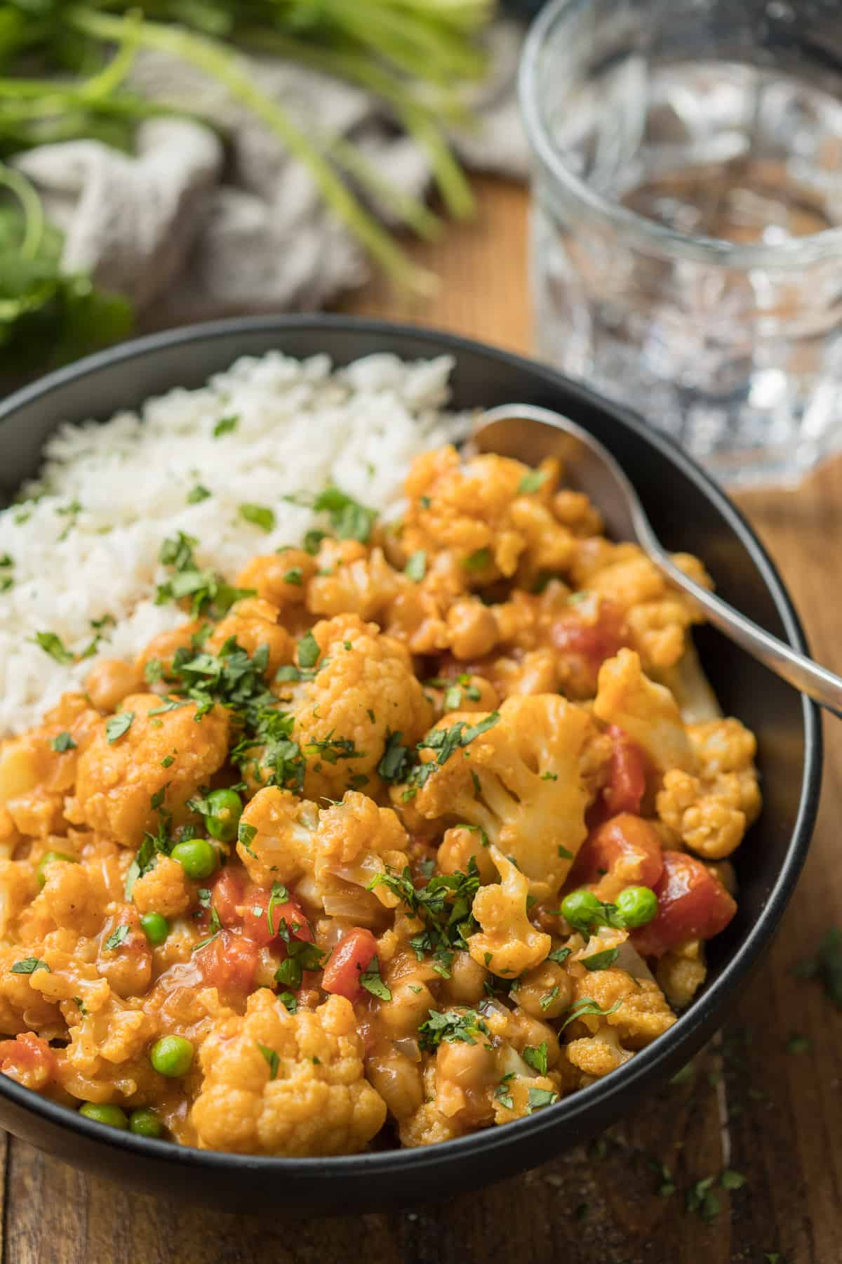 Close Up of Cauliflower Curry in a Bowl with Rice