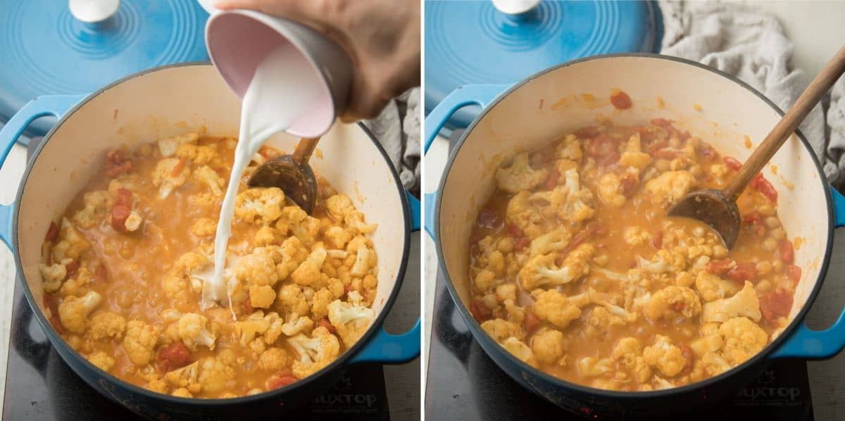 Collage Showing Last Two Steps for Making Cauliflower Curry: Add Cornstarch Slurry and Simmer