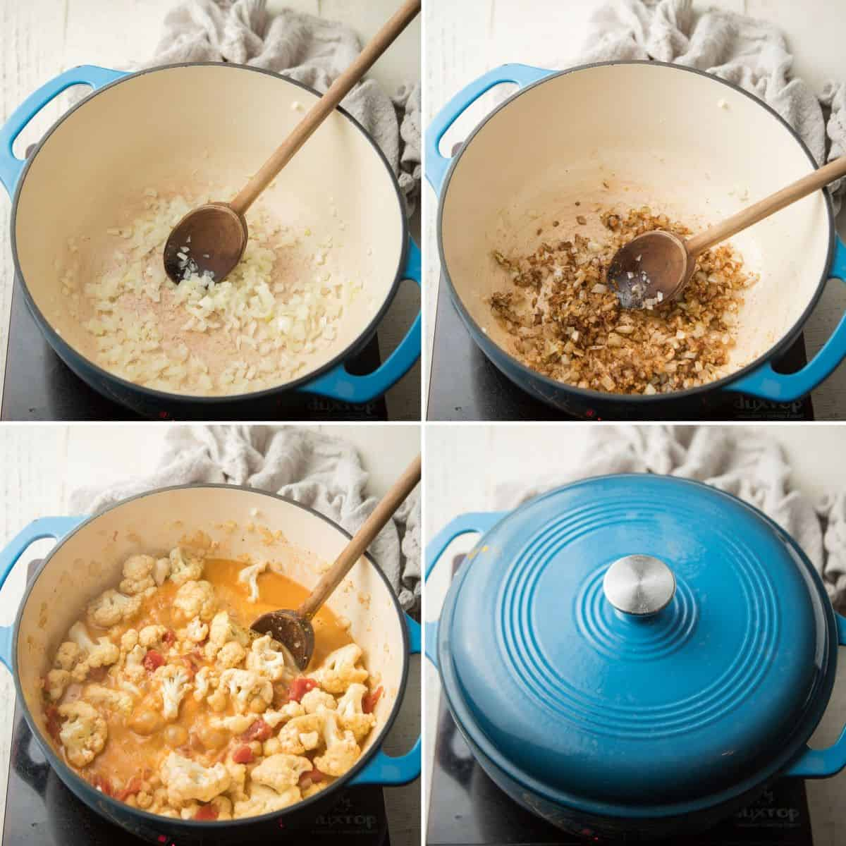 Collage Showing First 4 Steps for Making Cauliflower Curry: Sweat Onion, Add Spices, Add Coconut Milk, and Tomatoes, and Cover
