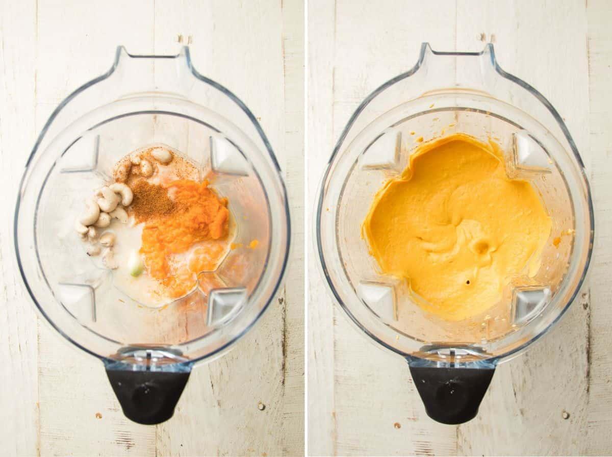 Ingredients for Making Vegan Pumpkin Pasta Sauce in a Blender Before and After Blending