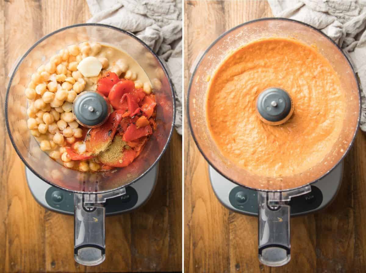 Two Images Showing Roasted Red Pepper Hummus Ingredients in a Food Processor Bowl Before and After Blending