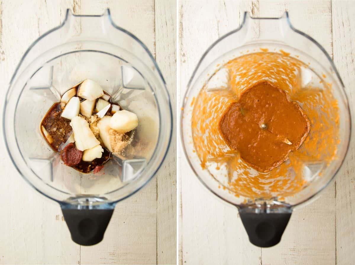 Collage Showing Ingredients for Vegan Bulgogi Sauce in a Blender Before and After Blending