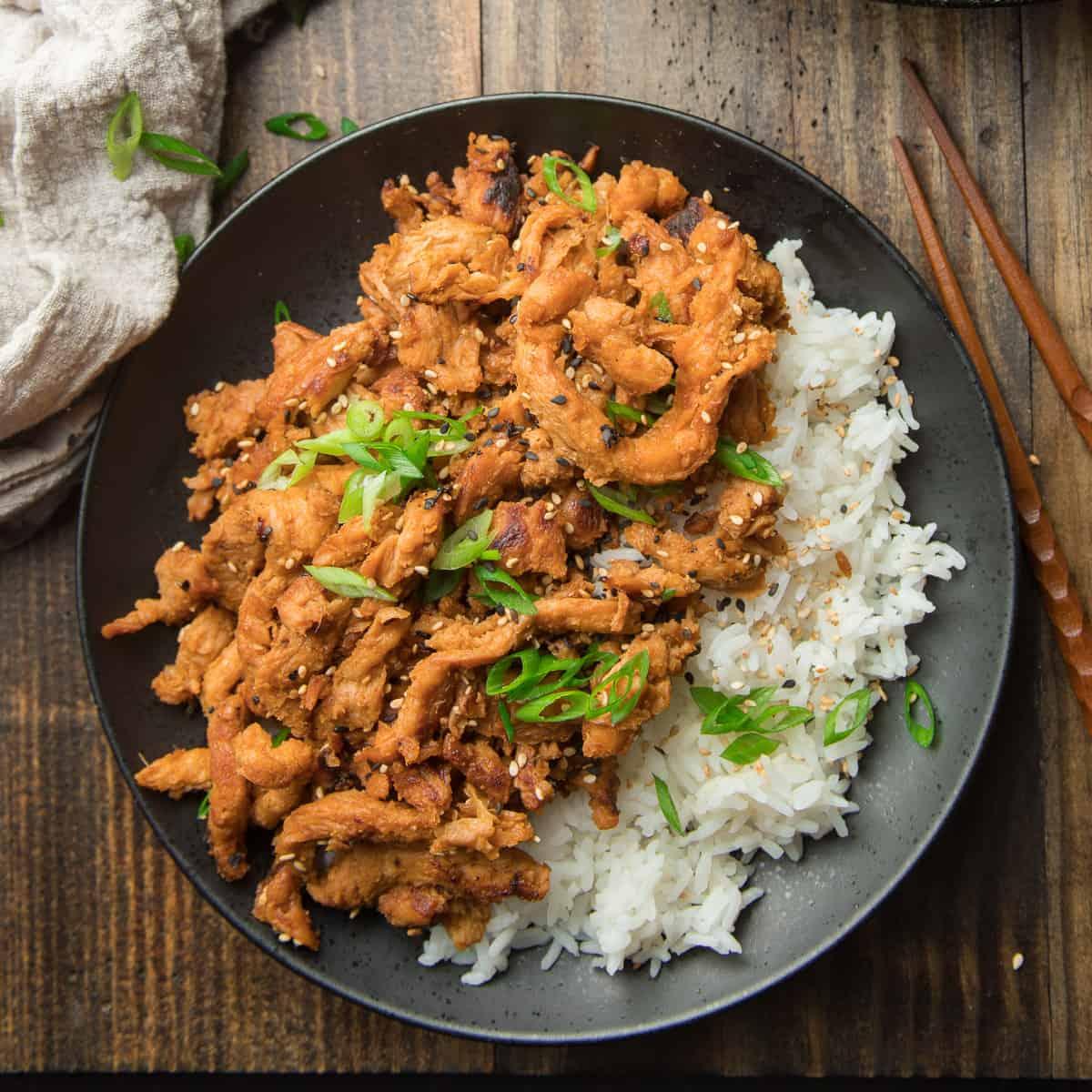 Plate of Vegan Bulgogi Over Rice