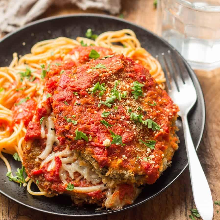 Plate of Vegan Eggplant Parmesan and Spaghetti