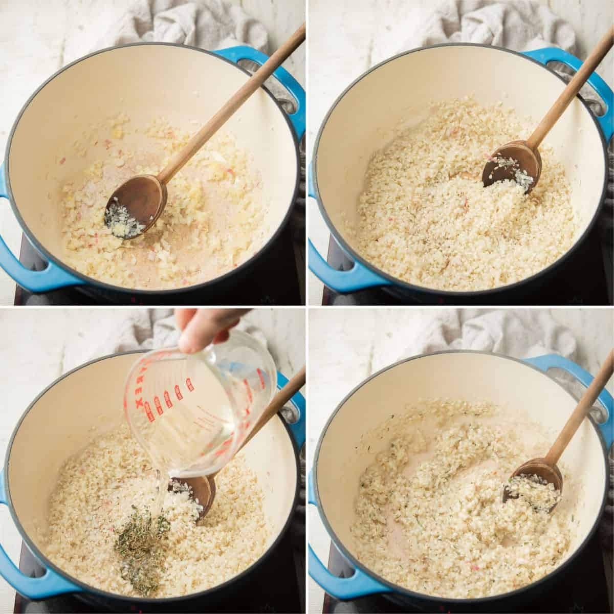 First 4 steps for making vegan risotto: cook armatics, toast rice, add wine and simmer.