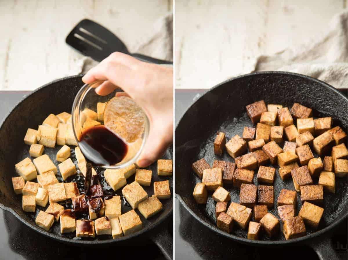 Collage Showing Two Stages of Cooking Balsamic Tofu in a Skillet