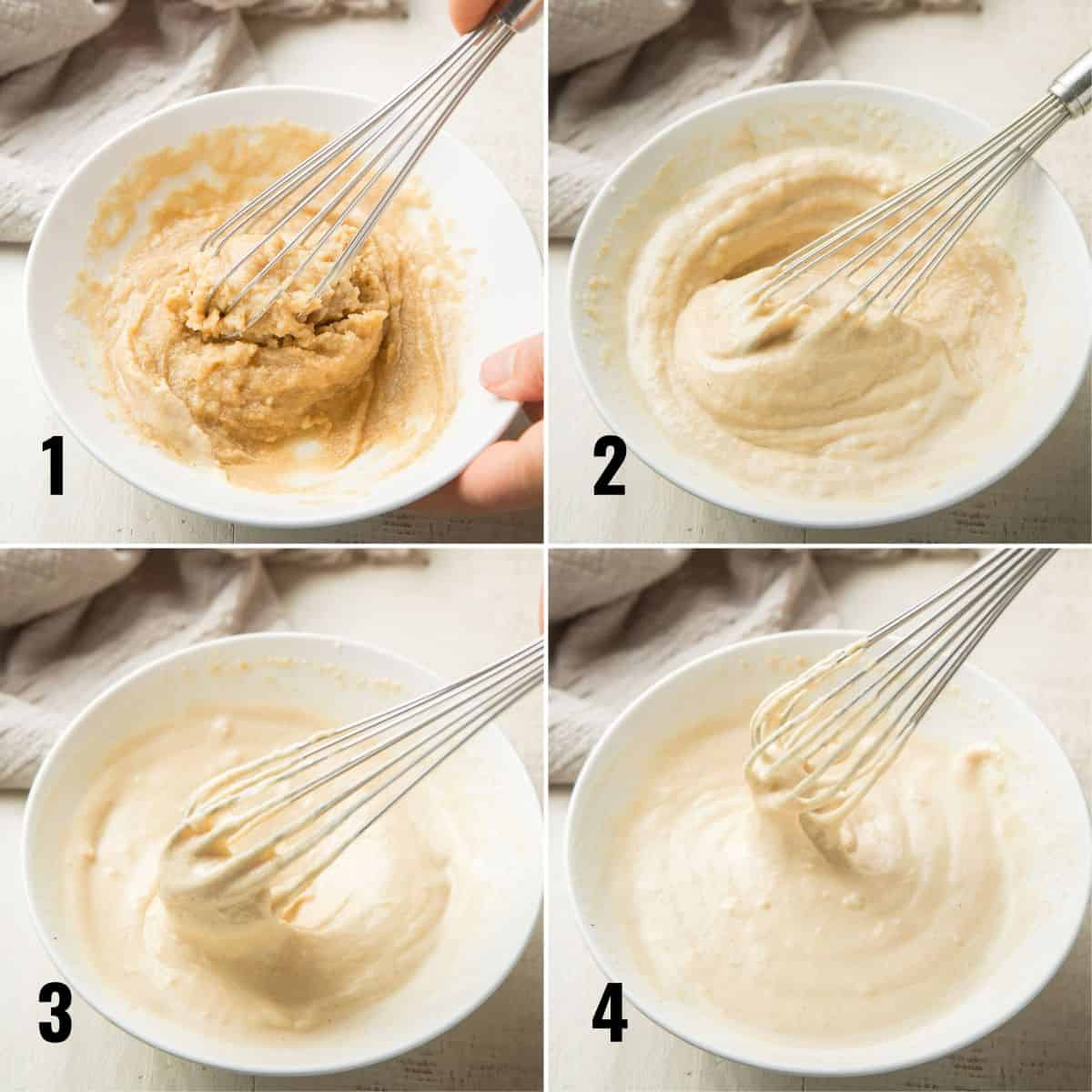 Collage Showing 4 Stages of Whisking Tahini Dressing together in a bowl.