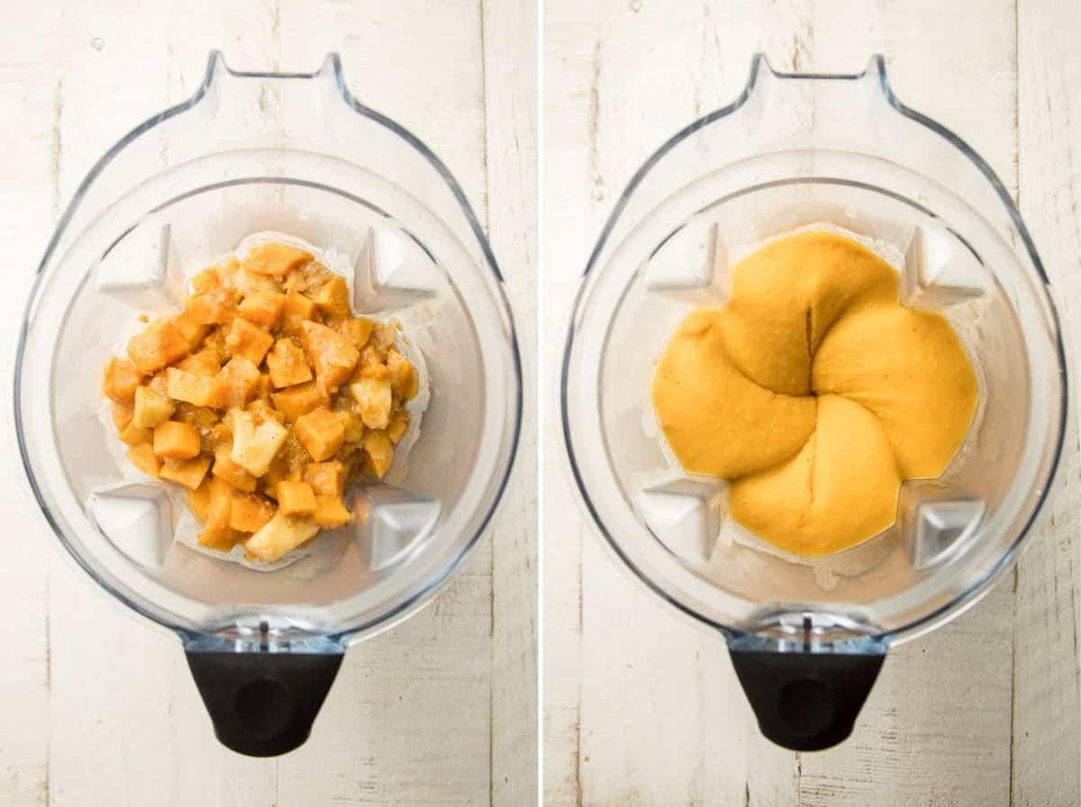 Vegan Butternut Squash Soup ingredients in a blender before and after blending.