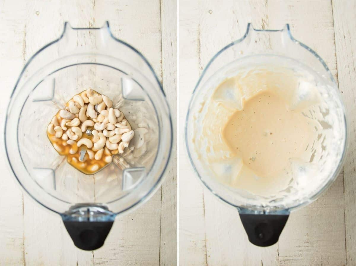 Side By side images showing Vegan Chicken ala King sauce in a blender before and after blending.