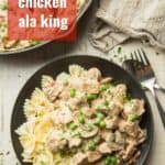 """Plate of Vegan Chicken ala King with text overlay reading """"Vegan Chicken ala King."""""""