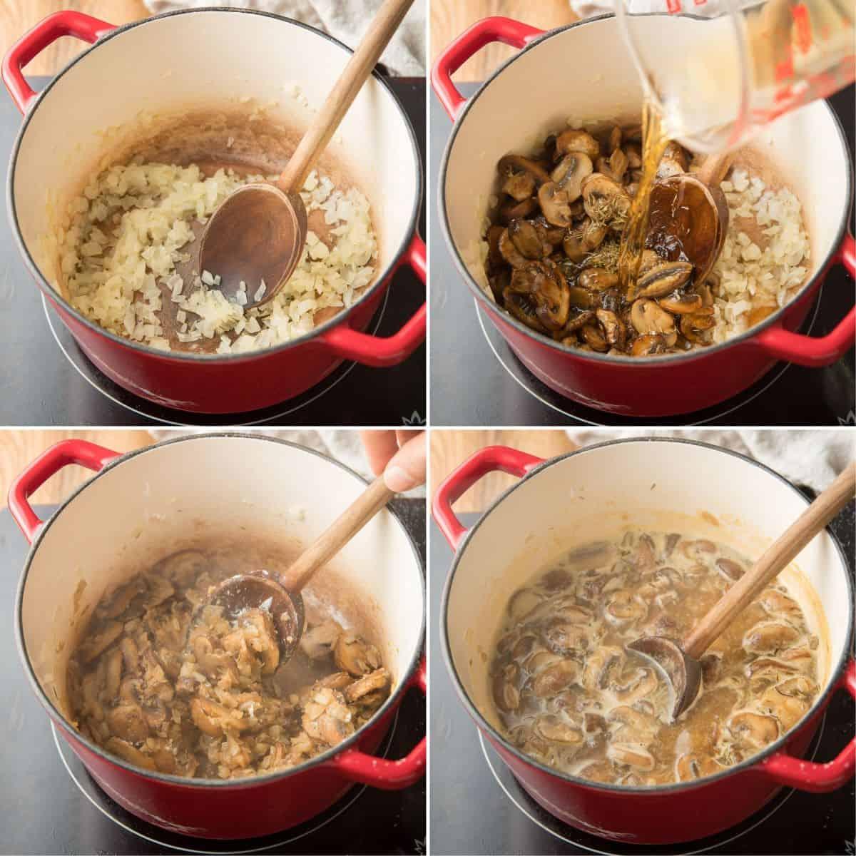 Collage Showing 4 Steps for Making Vegan Mushroom Gravy