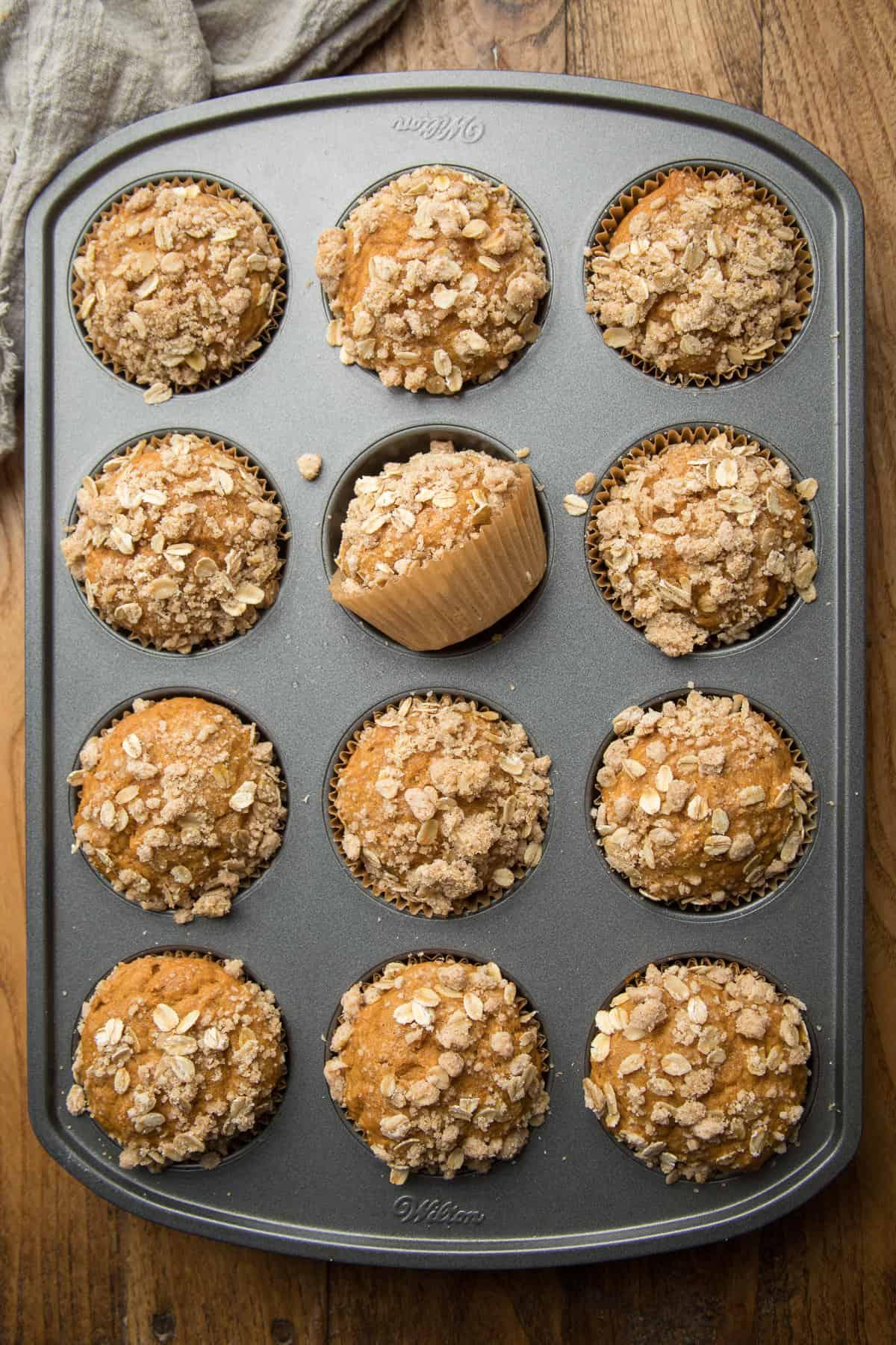 Vegan Pumpkin Muffins in a muffin tin.